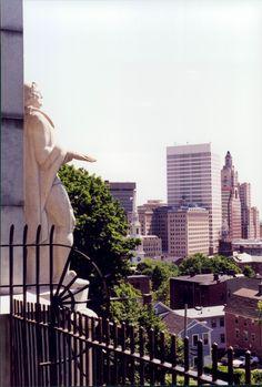 Roger Williams statue overlooking Providence, Rhode Island skyline. 2001.  photo by Steve Golse.