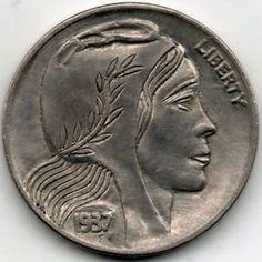 RAY CASTRO HOBO NICKEL - 1937 BUFFALO PROFILE Hobo Nickel, Art Forms, Sculpture Art, Folk Art, Buffalo, Coins, Miniatures, Carving, Profile