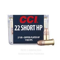 CCI 22 Short Ammo - 100 Rounds of 27 Grain CPHP Ammunition #22Short #22ShortAmmo #CCI #CCIAmmo #CCI22Short #CPHP