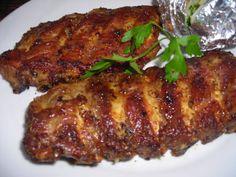 Costillas de cerdo al horno Pork Tenderloin Recipes, Pork Chop Recipes, Grilling Recipes, Meat Recipes, Mexican Food Recipes, Pork Meals, Sweet And Sour Pork Chop Recipe, Baked Pork Ribs, Chilean Recipes