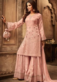 Buy Peach Art Silk Embroidered Sharara Suit - Churidar Suit for Women from Andaaz Fashion at Best Prices. Designer Kurtis, Indian Designer Suits, Designer Dresses, Sharara Designs, Kurti Designs Party Wear, Indian Gowns Dresses, Pakistani Dresses, Pakistani Sharara, Pakistani Suits Online