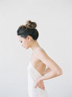 Jen Huang Photo | Chiali Meng Artistry | Shop Gossamer Simple white slip dress and a top knot. #bride #wedding
