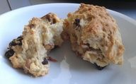 Irish Soda Bread    1 1/2 c. white rice flour, 1/2 c. tapioca flour,  1/2 c. white sugar,  1 tsp. baking soda,  1 tsp. baking powder,  1 tsp. salt,  1 egg,  1 c. buttermilk.  Preheat oven, 350 degrees. Grease 9 inch round cake pan. Mix dry ingredients. Mix wet ingredients. Combine dry and wet until mixed through. Fold in 2 handfuls raisins. Pour into pan. Bake for 30 minutes or until golden brown and toothpick inserted in center comes out clean. Cool for 10 minutes and ENJOY!!!