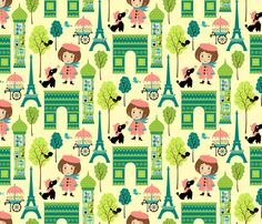 Wee Are the World: Frenchy fabric by sheri_mcculley on Spoonflower - custom fabric