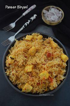 Paneer Biryani in Pressure cooker Recipe Afghan Food Recipes, Indian Food Recipes, Veg Biryani Recipe Indian, Vegetarian Cooking, Vegetarian Recipes, Spicy Recipes, Kitchen Recipes, Cooking Recipes, Paneer Biryani