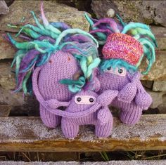 The Dreadhead Monster Family - cuddly plush knitted toys