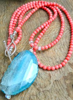 Ocean Blue and Coral for you  Sea Treasure Necklace by kimhunt, $72.00