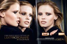 Lara Stone wears a nude lipstick shade in L'Oreal Paris L'Extraordinaire advertisement.