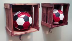 In lieu of actual lockers, Kellie used wooden bins with a hook underneath to create a locker feel. Soccer Bedroom, Football Bedroom, Boys Bedroom Decor, Bedroom Themes, Bedroom Ideas, Cool Boys Room, Boy Room, Soccer Locker, Football Rooms