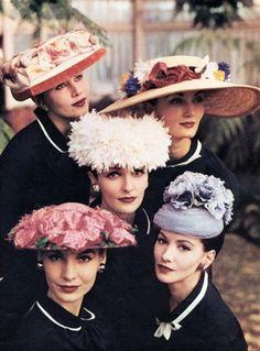 Hat fashions, 1956.  Source: pinterest.com  #vintag