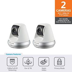 Samsung SNH-V6410PN SmartCam Pan/Tilt Full HD 1080p Wi-Fi IP Camera Double Pack (White)