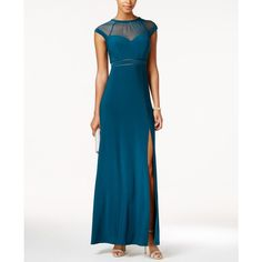 Nightway Petite Illusion Slit A-Line Gown ($99) ❤ liked on Polyvore featuring dresses, gowns, emerald, slit dress, a line dress, white slit dress, slit gown and white evening gowns