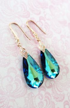 Rose Gold Bermuda Blue Faceted Teardrop Crystal