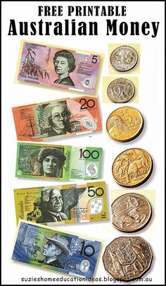Free printable Australian money (notes & coins) - would be great for roleplaying and maths games. From Suzie's Home Education Ideas.