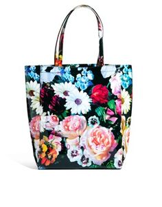 Image 1 ofTed Baker Oicon Large Oil Painting Print Black Icon Bag
