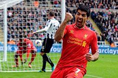 Suarez celebrates at Newcastle.