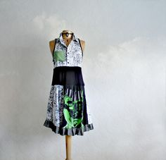 Image of Black and White Upcycled Dress Bright Green Shirt Dress Ladies Eco Clothes M