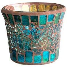 aqua turquoise mosaic glass