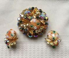 Vintage Juliana D&E Coral Rhinestone Strippled Easter Egg Brooch Earrings Set #JulinanaDE