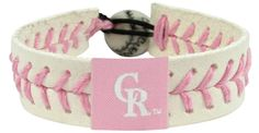 Colorado Rockies Pink Baseball Bracelet