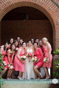 Count 'em, thats TWELVE bridesmaids! Oh my word! // Robin Lin Photography, Raleigh NC