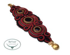 Soutache Bracelet Merigold by RebarJewelry on Etsy Soutache Bracelet, Soutache Jewelry, Green And Brown, Blue Green, Swarovski, Spring New, Belly Button Rings, Color Schemes, Bracelet Watch