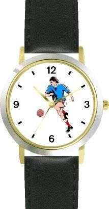 Man or Boy Soccer Player Soccer or Fussball Theme - WATCHBUDDY® DELUXE TWO-TONE THEME WATCH - Arabic Numbers - Black Leather Strap-Children's Size-Small ( Boy's Size & Girl's Size ) WatchBuddy. $49.95