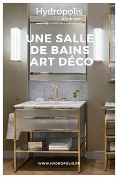 Le style Art déco apporte classe et originalité à la salle de bains. Découvrez nos 5 conseils pour adopter le style Art Déco dans votre salle de bains. Outdoor Bathrooms, Motifs, Vanity, Wellness, Pop, Inspiration, Shower Screen, Orb Light Fixture, Wall Lamp Shades