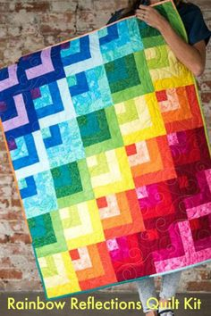 Rainbow Reflections Collage Rainbow Quilt Kit Skill Level Beginner Beautiful, Bright Colors! #quilting #affiliatelink #Craftsy