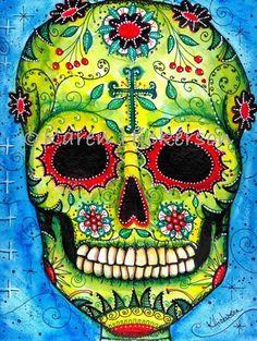 Karen Hickerson Day of the Dead Sugar Skull Folk Art Abstract Print Painting