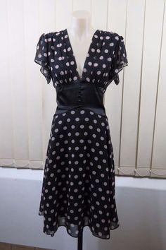 Size M 12 REVIEW Ladies Black Dress Feminine Vintage Retro Cocktail Wedding