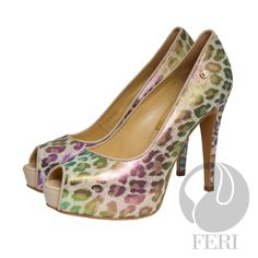 FERI - MARIANA - SHOES - Multi Colour Print - Snake skin printed napa leather pump with stiletto heel - Napa leather sole and insole - Colour: Multi-colour iridescent material. Shoes may reflect different colouring on different angles. - FERI logo hardware on sole and outside of heel - Heel height: 4 7/5 inches with platform 1.5 inches  Invest with confidence in FERI Designer Lines. www.gwtcorp.com/ghem or email fashionforghem.com for big discount