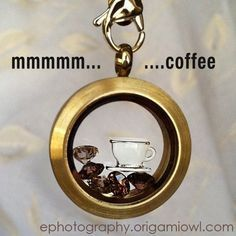 mmmmmmm coffee! Origami Owl Locket, charms, and chain. Please LIKE my FB page: https://www.facebook.com/PavliesCharms.OrigamiOwl?ref=hl