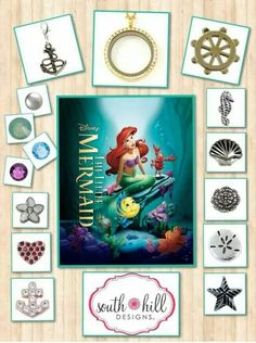 Disney's Little Mermaid Locket - I Disney! Origami Necklace, Origami Owl Jewelry, Disney Little Mermaids, The Little Mermaid, Locket Design, South Hill Designs, Create Your Own Story, Floating Charms, Home Crafts