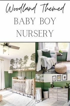 A baby boy nursery gets a woodland themed makeover with deep green, cozy lighting, and peel & stick watercolor style wall mural on a budget. Home Decor Items, Diy Home Decor, Changing Table Dresser, Diy Crib, Blogger Home, Woodland Baby, Affordable Home Decor, Nursery Neutral, Baby Boy Nurseries