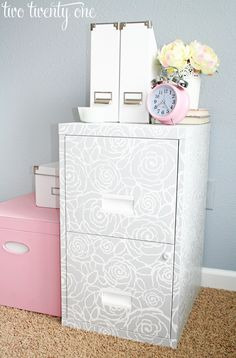 love the pink! The color of the file cabinet, Gravity by Valspar, is the color of our master bedroom!