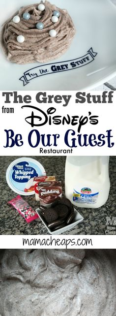 "Make ""The Grey Stuff"" from Disney's Be Our Guest Restaurant How to Make ""The Grey Stuff"" from Disney's Be Our Guest Restaurant Find more Disney fun on !How to Make ""The Grey Stuff"" from Disney's Be Our Guest Restaurant Find more Disney fun on ! Disney Desserts, Just Desserts, Delicious Desserts, Dessert Recipes, Yummy Food, Disney Recipes, Disney Snacks, Disney Party Foods, Disney Drinks"