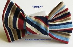 Blue, Brown & Red Striped Male Dog and Cat Bow Tie