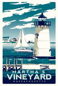 martha's vineyard vintage lighthouse print Art Print