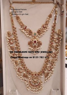 Sri Mahalaxmi Gems and Jewellers get the finest finish trend setting designs at most competitive prices. Presenting here very beautiful Guttapusal haram and short necklace set. Visit for exclusive designs of Bridal jewellery. Contact no 8125 782 Rhinestone Jewelry, Jewelry Necklaces, Diamond Necklaces, Diamond Choker, Pearl Jewelry, Gold Jewelry Simple, Pandora, Gold Jewellery Design, Silver Jewellery