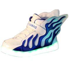 Feuer Leuchtende Schuhe Mit Flügeln Blau