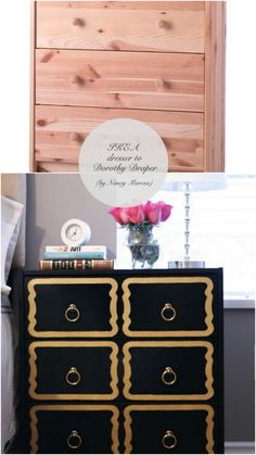 10 Totally Ingenius, Ridiculously Stylish IKEA Hacks --> look at that black and gold #DorothyDraper knockoff #DIY! #goodideas