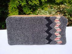 Herringbone  Wool zip  Pencil case - Chevron detail - men - boys - grey - OOAK. £7.25