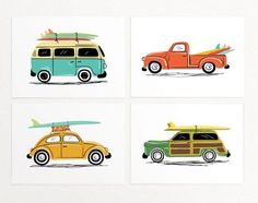 Surf Trip Wall Art Print fro Lucy Loves Paper on Etsy - Set of 4 prints - vintage car illustrations with surf boards - VW Van, VW Beetle - California summer nursery art Surf Vintage, Vans Vintage, Vintage Wall Art, Carros Vintage, Car Wall Art, Illustrator, Foto Transfer, Surf Trip, Surf Travel