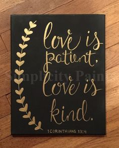 Love is patient, love is kind canvas by SimplicityPaints on Etsy https://
