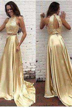 Gold Beaded Satin 2 Pieces Prom Dress Custom Made Fashion Two Piece  Beadings Long Homecoming Dress 912b426020bf