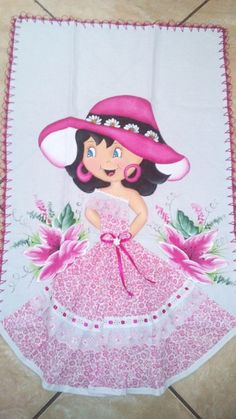 Pano de prato Fabric Painting, Fabric Art, Lady In Waiting, Handicraft, Girly Things, Hand Sewing, Princess Peach, Machine Embroidery, Sewing Crafts