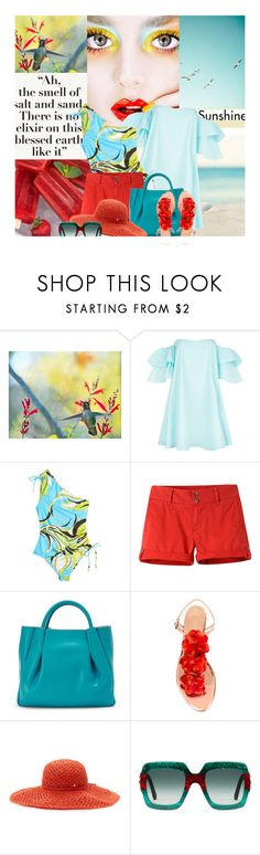 """""""Ah the smell of the salt and the sand. There is no elixir on this blessed earth like it"""" by no-where-girl ❤ liked on Polyvore featuring WALL, Claudie Pierlot, Emilio Pucci, Mountain Khakis, Alexandra de Curtis, Charlotte Olympia, Helen Kaminski and Gucci"""