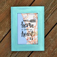 This hand lettered gift will be treasured by anyone who receives it. No matter where they live, they'll love this tribute to the place where their heart is. One Artsy Mama featured on Kenarry.com
