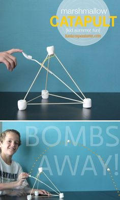 marshmallow catapult - so fun! Easy instructions for a simple catapult kids can make with household materials - great rainy day activity!